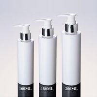 3 PS lote cosméticos botellas de embalaje 100 ml 150 ml 200 ml Botella de plástico blanco de la bomba de plata Loción botella PET para champú con dispensador