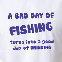 Fishing Beer T- shirt Men' s Gift Clothing Fish Stubby Sh...