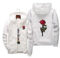 Jaqueta de blusão rosa homens e mulheres jaqueta nova moda branco e preto rosas outwear casaco