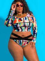 grande, più grande di grasso delle donne costume da bagno stampato con pieghe di grasso e vita alta per coprire la pancia Bikini 2019 Bikini Imposta usura triangolo sexy