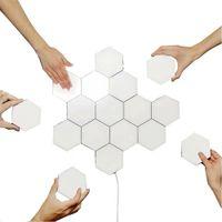 LED QUANTUM HEXAGONAL Vägglampa Modular Touch Sensor Light Fixture Smart Light DIY Creative Geometrisk Assembly Lamp