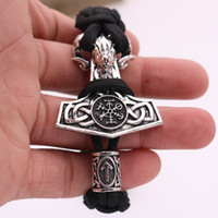 thor hammer Nodic Vikings Runes Pendant Necklace mjolnir Viking Valknut Original Amulet Sheep Bracelet man jewelry Bangles