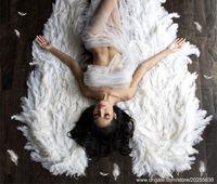 Highight Quality Роскошный румянец розовый страус перо перо Ангел крылья белые фея крылья красивые свадьбы Грандиозное событие деко реквизит рождения вечеринка фотография