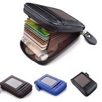 Fermuar İnce Kart Değişikliği Depolama Çanta Engelleme Erkek Cüzdan Gerçek Deri Kredi Kartı Tutucu RFID