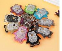 10 Pz / lotto pinguino Portachiavi Stile Coreano Donna Uomo Casual In Pelle di strass carino animale portachiavi sacchetto di fascino di Modo Nappa Portachiavi regalo