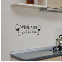 Вино немного винил стены искусства цитата стикер стены комната кухня съемный декор фреска наклейки QB838493