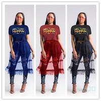a camisa das mulheres Vestido Carta POPPIN Verão retalhos de malha Vestidos de manga curta T saia de gaze Painéis vestido de festa de impressão roupa S-3XLC5904