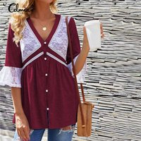 Frauen Blusen Hemden Plus Size Tops Celmia Frauen Mode Spitze Bluse 2021 Sommer Flare Sleeve Casual Lose Vintage Büro Tunika Blusas M
