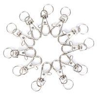 Clips 100pcs / Lot de plata giratoria corchete de la langosta gancho anillo dominante de Split Llavero Hallazgos Cierres para la toma de DIY Llaveros