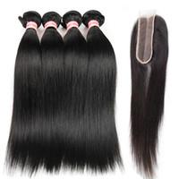 Grade 10A Brésilien Droit Virgin Humain Hair Bundles avec fermeture de dentelle 2x6 100% Straight Straight Hair Cheveux 3/4 Bundles avec fermeture
