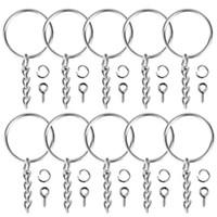 100 stücke keychain ringe schmuck mit kette und 100 stücke schraube auge pins bulk for crafts diy silber keyring zubehör