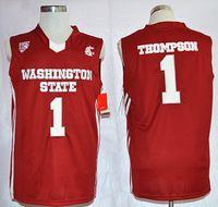 Vintage Washington Bundesstaat Klay Cougars Thompson College Basketball Jerseys Herren Home Rot # 1 Thompson genähte Universitätshirts S-XXL