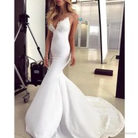 2019 Simple Sexy Lace Satin Mermaid Wedding Dresses V- Neck S...