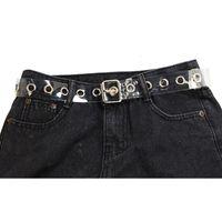 Donne chiaro Pieno Cintura Grommet Femminile Disigner punk della fibbia ad ardiglione Vita resina plastica PVC pantaloni jeans trasparente 261