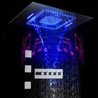 600x800 슈퍼 큰 음악 LED 샤워 온도 조절 폭포 마사지 레인 샤워 헤드 3 개 바디 제트 욕실 수도꼭지 천장 시스템 탑재