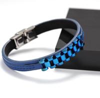 Европейские и американские модные кожаные шить браслет из нержавеющей стали Индивидуальные мужские шить Кожаный браслет Бесплатная доставка