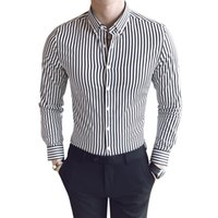 Stripe Shirt Man Long Sleeve Business Affairs Leisure Time S...