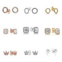 925 الفضة الاسترليني ساحة كبيرة تشيكوسلوفاكيا حلق الماس صالح مجوهرات الزفاف الذهب ارتفع الذهب مطلي مطلية بالذهب قرط النساء أقراط اكسسوارات