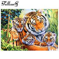 FULLCANG 5j peinture diamant pleine broderie diy de forage carré / rond animaux de la famille tigre kit de point de croix de la mosaïque du diamant FC1476