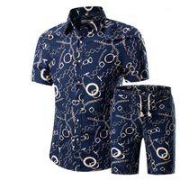 Homens Camisas+Shorts Set New Summer Casual Printed Hawaiian Shirt Homme Short Male Printing Suits Sets Plus Size1