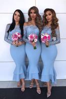 Pas cher blue épaule à épaule manches longues Mermaid Robes de demoiselle d'honneur à la cheville Longueur de la dentelle Formelle Formelle promenade Soirée Robe de mariée sexy BM0927
