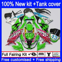 Cuerpo + tanque para Kawasaki ZX6R ZX636 2009 2010 2011 2012 206MY.89 ZX 6R 636 600CC ZX636 ZX600 ZX 6R ZX6R 09 10 11 12 carenados brillo verde