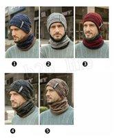caliente tejer sombrero bufanda Conjunto Hombres color sólido caliente del casquillo masculino bufandas de invierno al aire libre Accesorios Sombreros Bufanda 2pcs LJJM2368