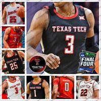 Özel 2020 Texas Tech Basketbol 3 Jahmi'us Ramsey 25 Davide Moretti 0 Kyler Edwards Siyah Kırmızı Beyaz Gri TTU Erkekler Gençlik Kid 4XL
