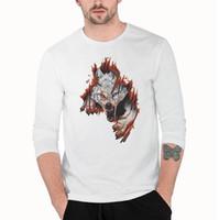 Neue Print Design Männer Flamme Wolf Kopf Print Langarm T-Shirt Junge Studenten Rundhals Baumwolle Bottoming Shirt Sweatshirt
