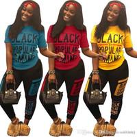 Short Sleeve Crew Neck Long Pants Frauen Zweiteiler Hose beschriften das gedruckte Frauen 2PCS Sets Schwarz Printed Frauen 2PCS Sports Sets