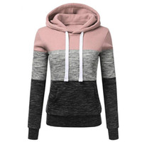 Plus Size Hoodies Sweatshirts Outono luva longa das mulheres hoody Casual Tops camisola listrada Patchwork Suéter