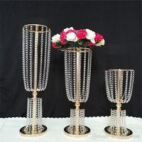 Lüks Tall Akrilik Kristal Düğün Yolu kurşun sahne düğün masa centerpieces olay parti dekor düğün koridor geçit çiçek vazo