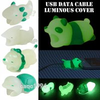 nuevo Luminous Cable Bite Charger Protector Savor Cover Phone para iPhone Lightning Cute Animal Design Cable de carga Protector DHL