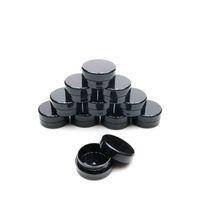 3GRAM Kosmetische Probe leerer Glaskunststoff Rundtopf schwarzer Schraubdeckeldeckel, kleine winzige 3G-Flasche, für Make-up, Lidschatten, Nägel, Pulver, Farbe