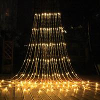 3xm 6x3m 640 주도 폭포 문자열 커튼 라이트 LED가 물 흐름 크리스마스 웨딩 파티 휴일 장식 요정 문자열 조명 방수에게