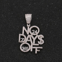 Iced out hiphop jewelry micro paved NO DAYS OFF Letters pend...
