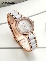 Mulheres Moda de SINOBI pulseira relógios Para Senhoras elegantes relógios Rose Gold relógio de pulso Diamante Feminino Relógio Relojes Mujer 2017