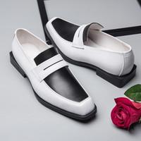 Hakiki Erkekler Iş Deri Ayakkabı Karışık Renkler İngiliz Mocassin Homme Tasarımcı Resmi Suit Ofis Düğün Ayakkabı Kare Ayak