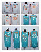 남자 세미 프로 영화 플린트 열대 농구 유니폼 7 커피 블랙 33 재키 문 11 ED Monix 스티치 그린 화이트 maillot de basket shirt