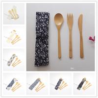 Umweltfreundliche Bambus Besteck-Satz umfasst Messer, Gabel, Löffel mit einem Tuch-Beutel-beweglicher Bestecke Studenten Geschirr Set Reise Geschirr Sets