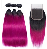 Cabelo Humano Virgem Brasileiro straight 1B Purple Ombre Hair Extensions With 4X4 Lace Closure Middle Three Free Part 1B/purple