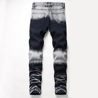 패치 워크 ColorJeans 남성용 찢어진 우편 의류 고민 구멍 스트리트 스타일의 럭셔리 스트레이트 슬림 피트 자전거 청바지 남성