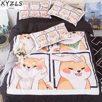 Cute Shiba Inu Soft Cotton Bedding Set Queen Duvet Cover Set...