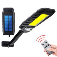 Lumières solaires LED Solar Mouvement Capteur de mouvement Mur de la lampe de rue extérieure imperméable Smart Sensing Lampe de jardin avec télécommande