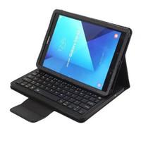 abnehmbare abnehmbare T820 wiederaufladbare usb drahtloser abs Silizium-Bluetooth-Tastatur Portfolio Ledertasche für Samsung Galaxy Tab s2 T810 s3