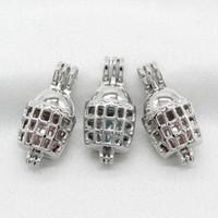 10 unids jaula de perlas jaula de plata plateado de aceite esencial difusor de cuentas Locket colgantes para el perfume de aromaterapia collar de fabricación