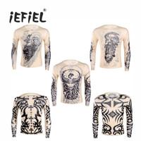 iEFiEL Fashion Mens t-shirt Fake Tattoo Design Elastic Durchsichtig Volle Lange Ärmel Oansatz T-Shirt für Halloween Kleidung der Männer