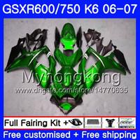 Кузов для SUZUKI глянцевый зеленый горячий GSXR 750 600 GSXR-750 K6 GSXR750 2006 2007 296HM.33 GSX в r600 о 750 рандов системы GSX-R600 о 06 07 GSXR600 06 07 обтекатель комплект