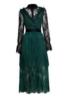 العرف 2019 خمر الأخضر ألف خط عالية الجودة موضة جديدة مصمم المدرج الفساتين المرأة كم طويل الكشكشة الطابق طول الدانتيل