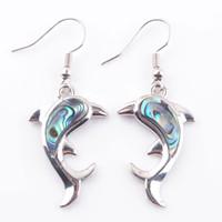 Wojier Natural Abalone Shell Pearl Gem Contones Changly Серьги Дельфины Бусины животных Капля Серьги для Женщин Свадебные Украшения DR3048